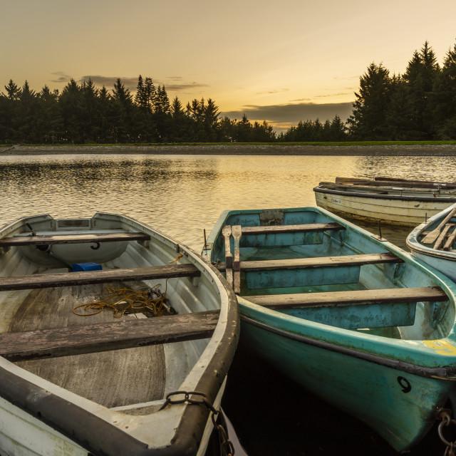 """""""Boats at Beecraigs"""" stock image"""