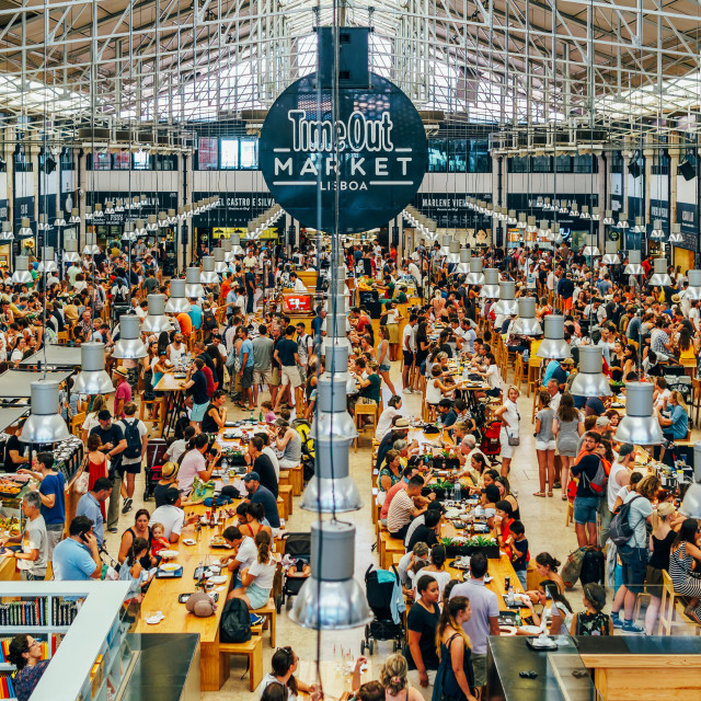 """Time Out Market is a food hall located in Mercado da Ribeira at Cais do Sodre in Lisbon and is a major touristic attraction for food lovers all over the world"" stock image"