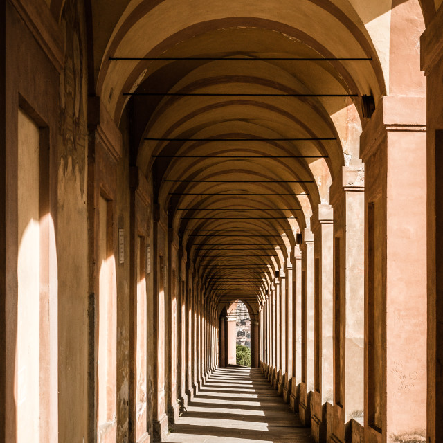"""""""Bologna, Italy. Famous San Luca's portico (porch): the longest portico in the..."""" stock image"""