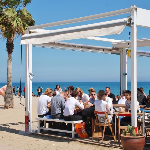 """Beach taverna, Barcelona"" stock image"