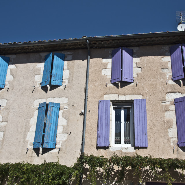 """Blue and purple shutters"" stock image"