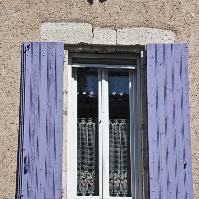 """Purple shutters - lace window"" stock image"