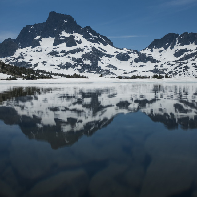 """""""Reflection in the High Sierra"""" stock image"""