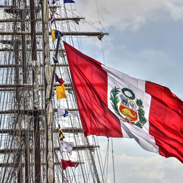 """Tallship with Peruvian flag"" stock image"