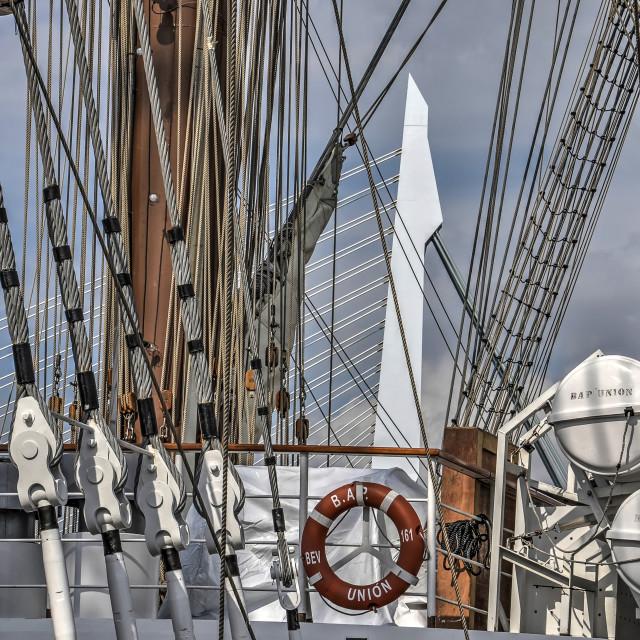 """Erasmus Bridge and sailing ship"" stock image"