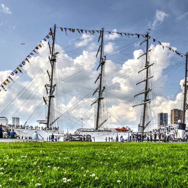 """Four-masted tallship moored at Wilhelminapier"" stock image"