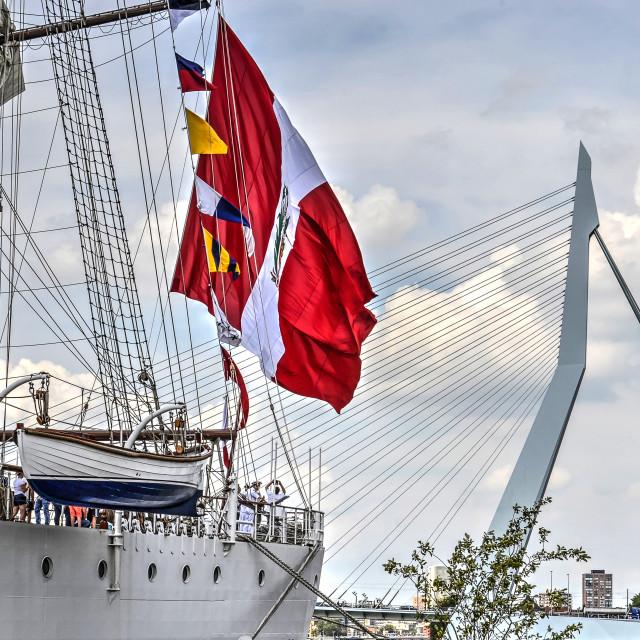 """Tallship, flag and bridge"" stock image"