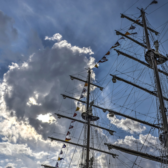 """""""Two masts and spectacular sky"""" stock image"""