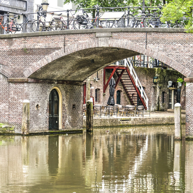 """""""Two level quay at Utrecht"""" stock image"""