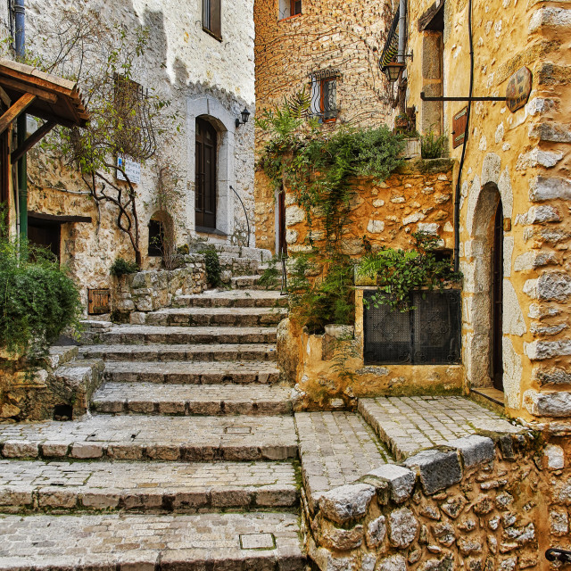 """Housing in a medieval village; Tourrettes-sur-Loup, France"" stock image"