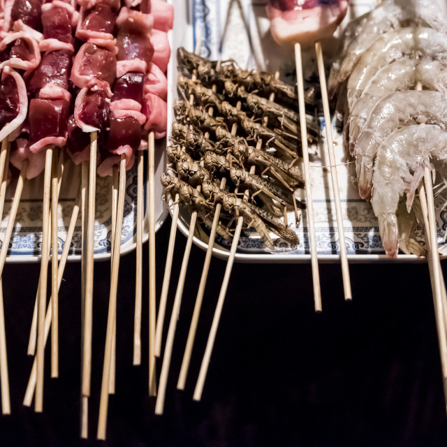 """Street vendor with skeewers ready to be cooked; Beijing, China"" stock image"