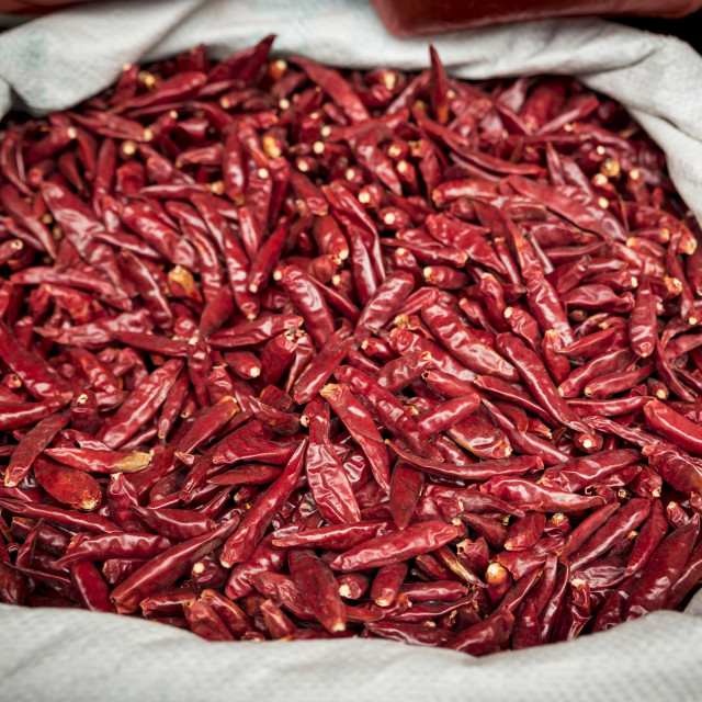 """Dried red peppers for sale; Xian, Shaanxi Province, China"" stock image"