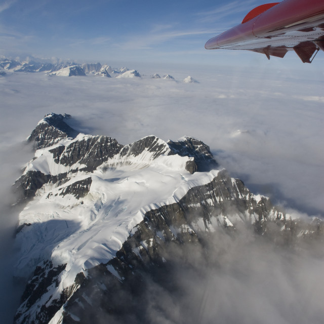 """Aerial View Of The Alaska Range During Summer From A Turbo Dehavilland Otter"" stock image"