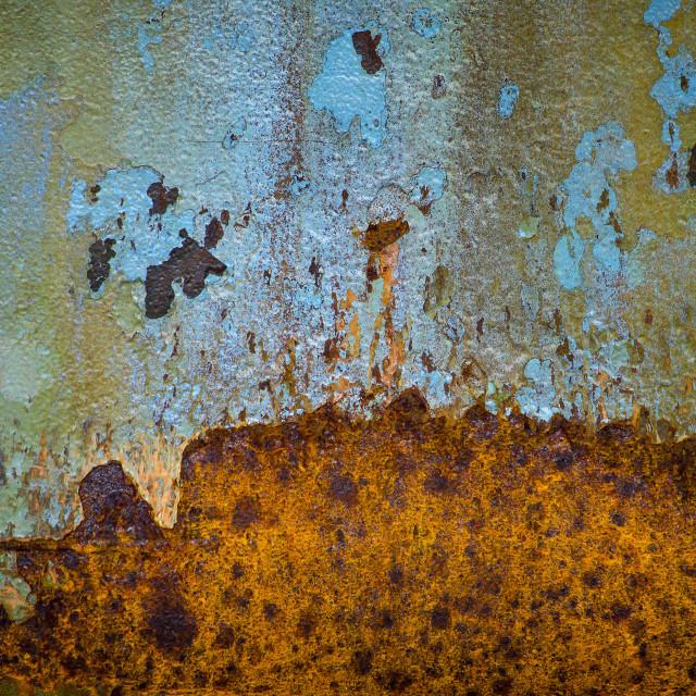"""Colorful rusty ship hull"" stock image"