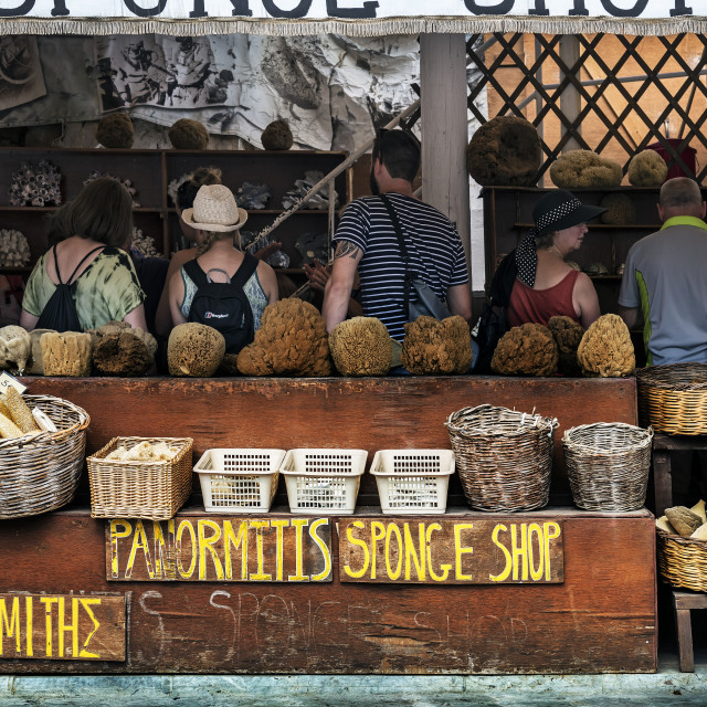 """Sponge Shop in Symi"" stock image"
