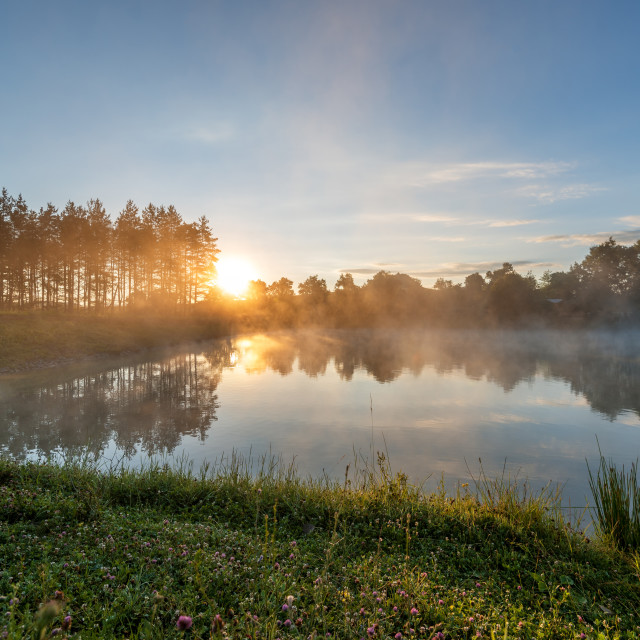 """""""Foggy river in the morning."""" stock image"""