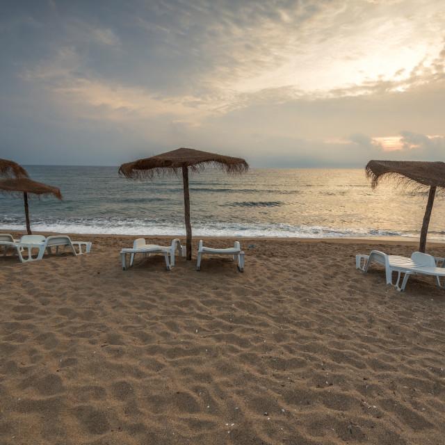 """""""Beautiful sunrise over the sea."""" stock image"""
