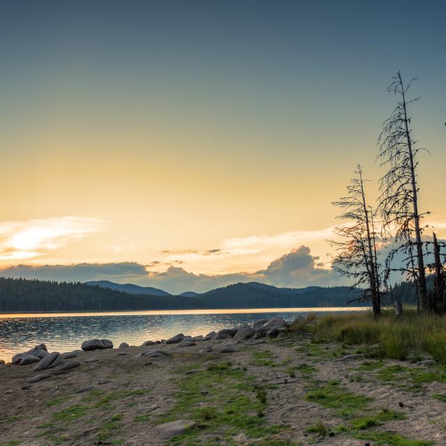 """Lake sunrise Beautiful sunrise view of Shiroka Polyana."" stock image"