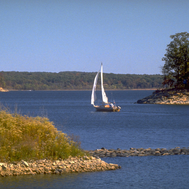 """Sailing on Stockton Lake"" stock image"