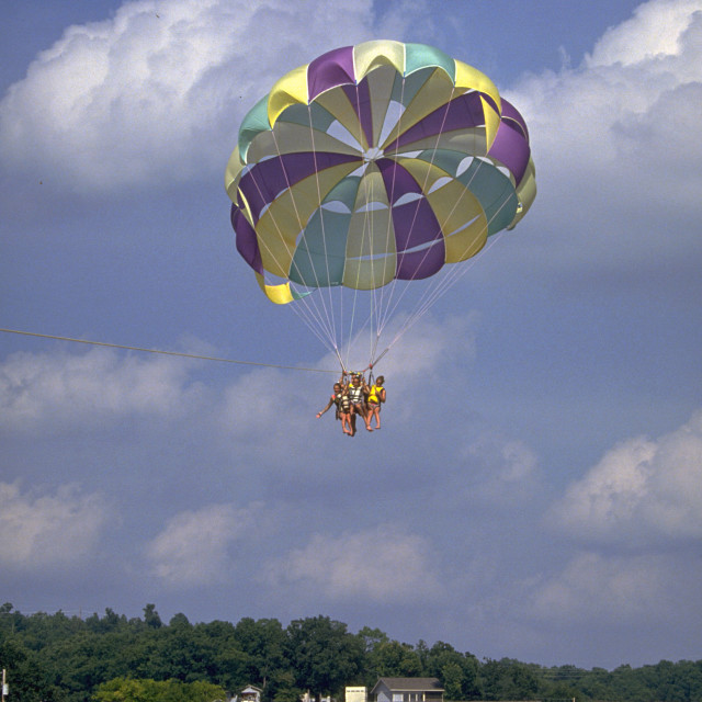 """Parasailing on Lake of the Ozarks"" stock image"