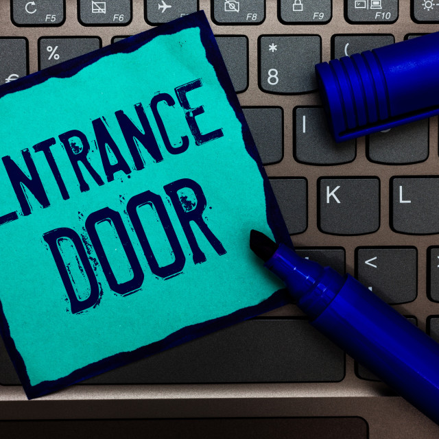 """Word writing text Entrance Door. Business concept for Way in Doorway Gate..."" stock image"