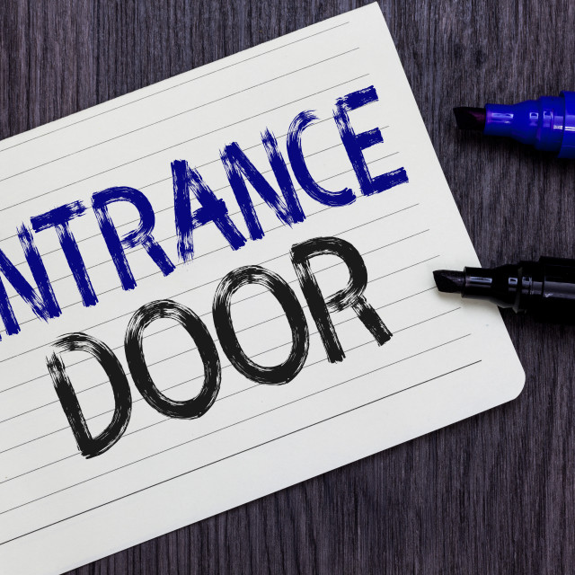 """Writing note showing Entrance Door. Business photo showcasing Way in Doorway..."" stock image"