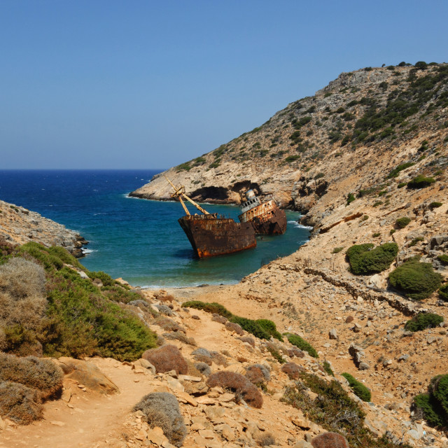 """""""Getting close to the rusty shipwreck of Amorgos"""" stock image"""