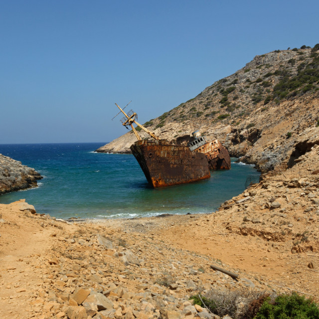 """""""The famous shipwreck """"Olympia"""" of Amorgos"""" stock image"""