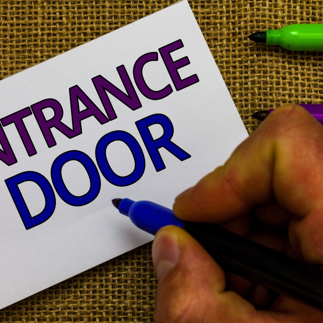"""Text sign showing Entrance Door. Conceptual photo Way in Doorway Gate Entry..."" stock image"