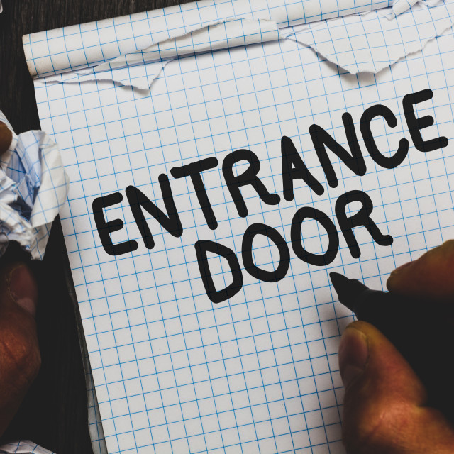 """Handwriting text Entrance Door. Concept meaning Way in Doorway Gate Entry..."" stock image"