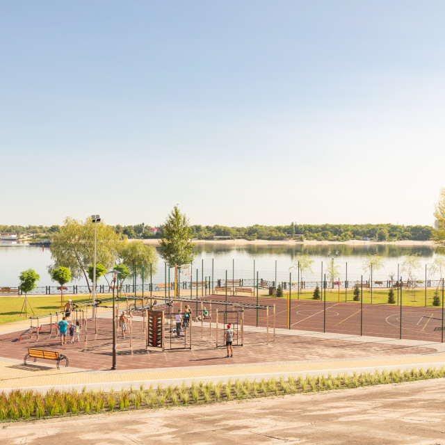 """Outdoor sports facility in the Natalka park of Kiev in Ukraine"" stock image"