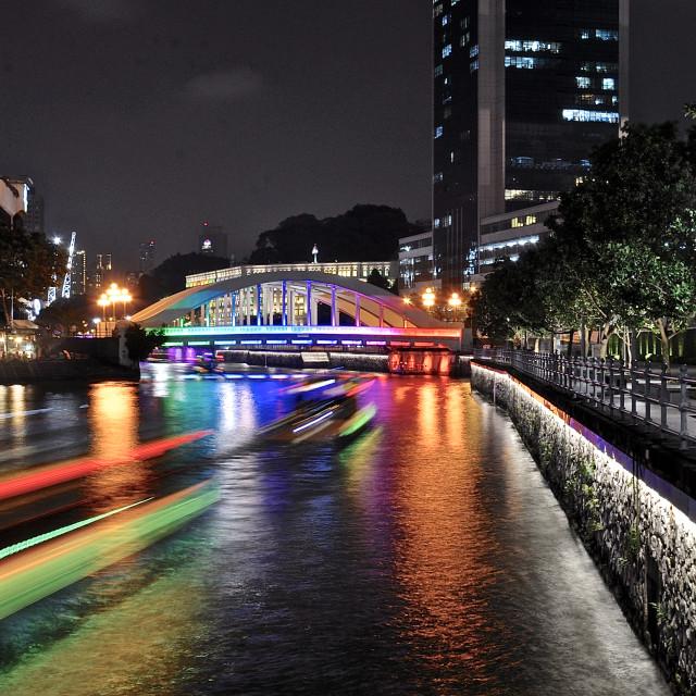 """Elgin Bridge at night"" stock image"