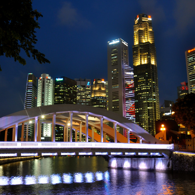 """Boat Quay, Singapore at night."" stock image"