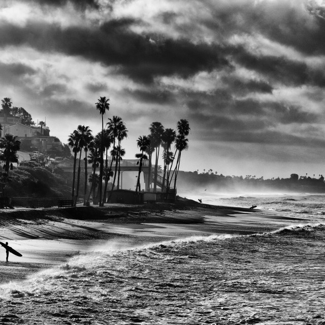 """""""Surfer on a beach in Black and White"""" stock image"""