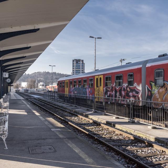 """Ljubljana train station platform"" stock image"