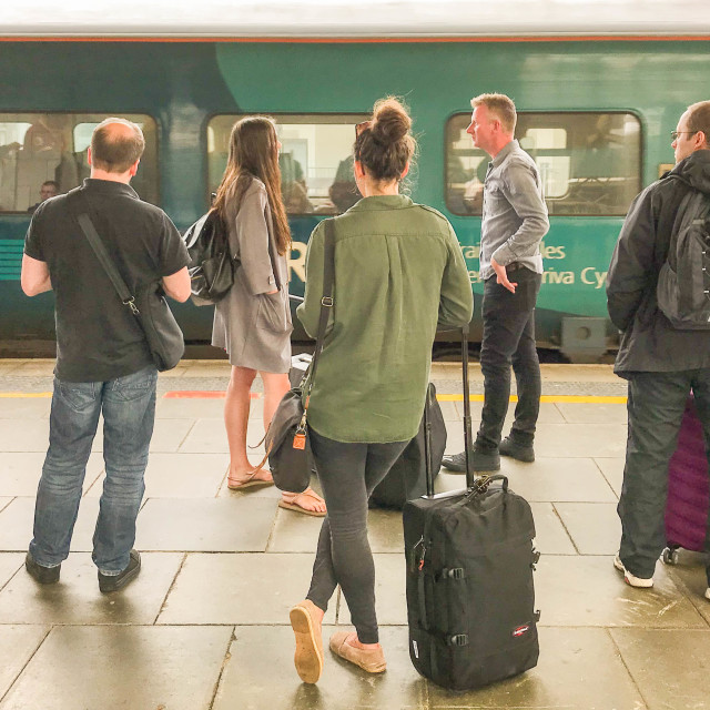 """People waiting for a train"" stock image"