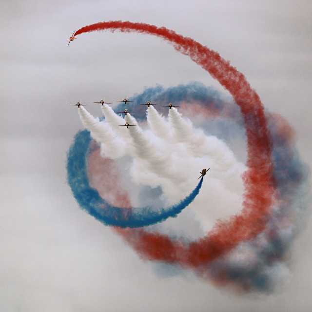 """Red Arrows 'Tornado'"" stock image"