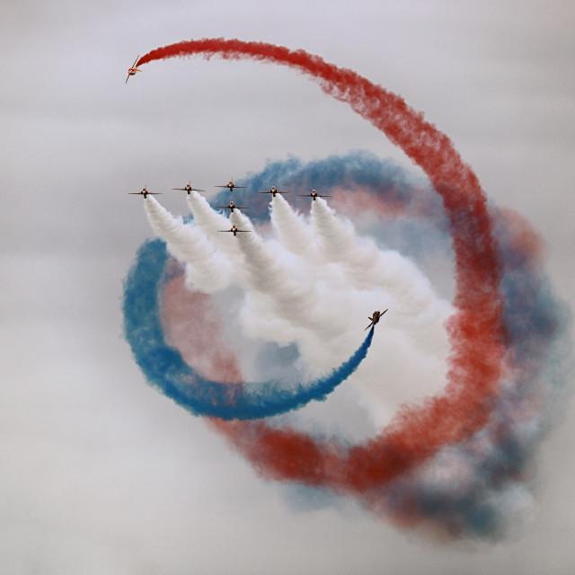 """""""Red Arrows 'Tornado'"""" stock image"""