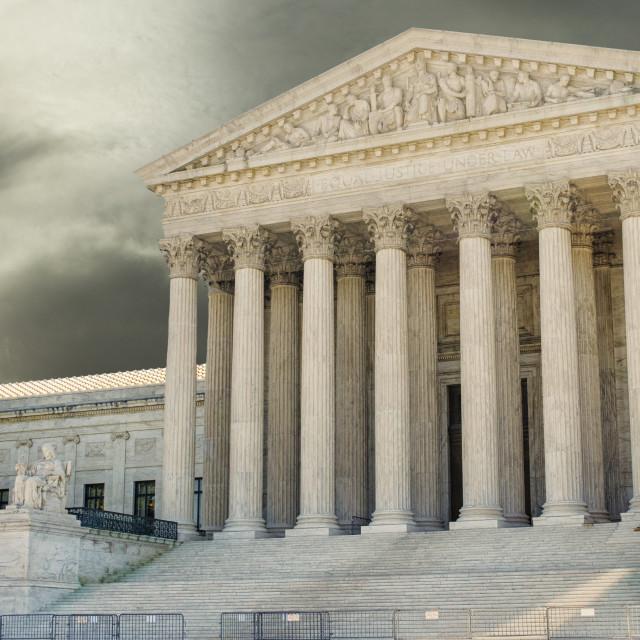 """Dark skies above Supreme court of Justice"" stock image"