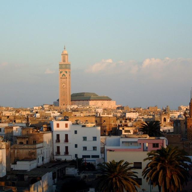 """Casablanca & Hassan II Mosque, Casablanca"" stock image"