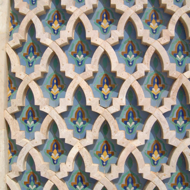 """Tilework at Hassan II Mosque, Casablanca"" stock image"