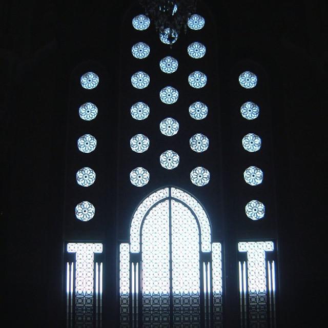 """Ornate Window, Hassan II Mosque, Casablanca"" stock image"