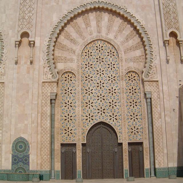 """""""Ornate Doorway, Hassan II Mosque, Casablanca"""" stock image"""