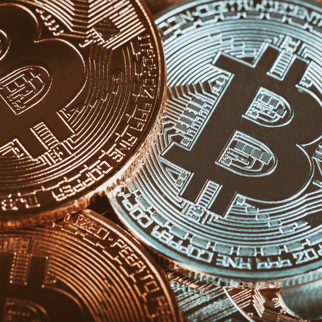 """Golden Bitcoins. New virtual money."" stock image"