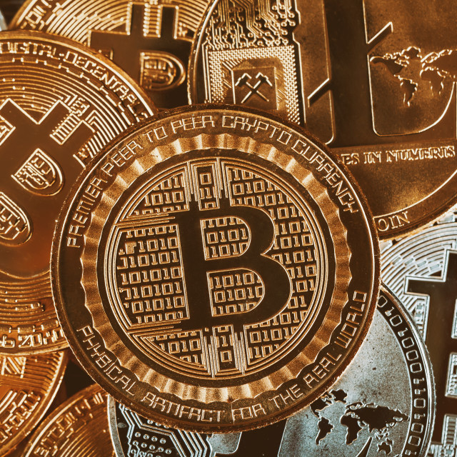 """""""Golden cryptocurrencys Bitcoin, Litecoin and mound of gold Business concept..."""" stock image"""