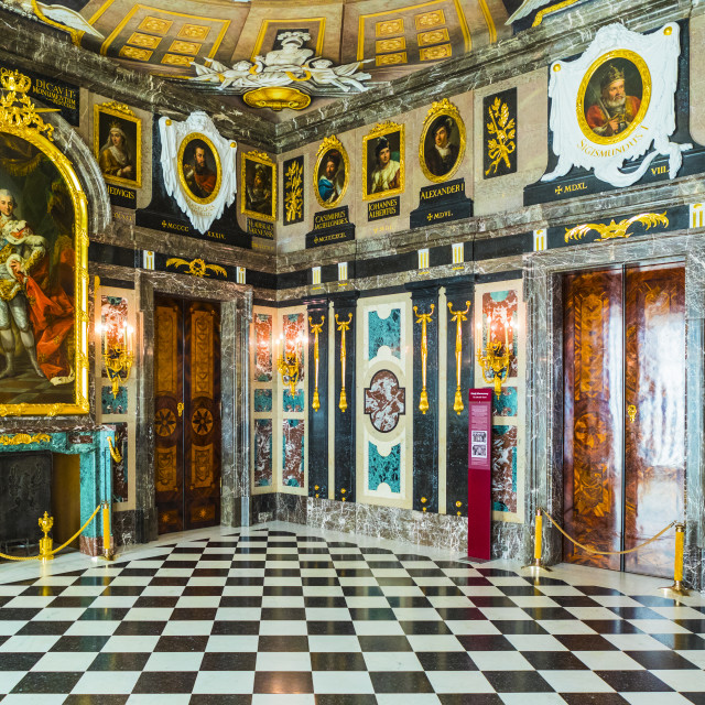"""""""The Marble Chamber, Royal Castle in Plac Zamkowy or Castle Square, Old Town,..."""" stock image"""