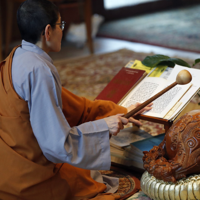 """""""Chua Tu An Buddhist temple. Monk at buddhist ceremony. Monk playing on a..."""" stock image"""