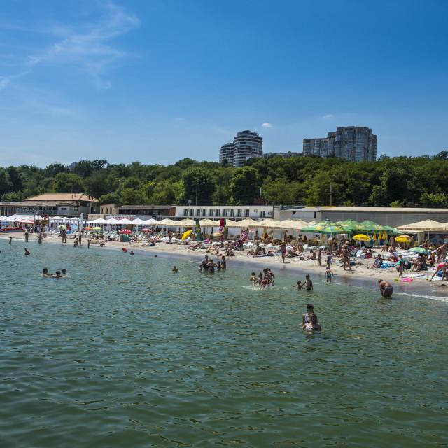 """Lanzheron beach, Odessa, Black sea, Ukraine"" stock image"