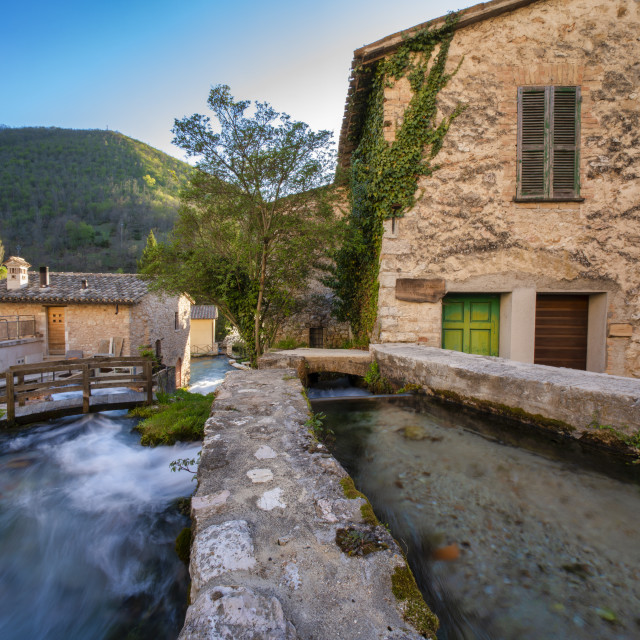 """""""Italy, Umbria, Rasiglia, Small town in the Apennines in Spring"""" stock image"""