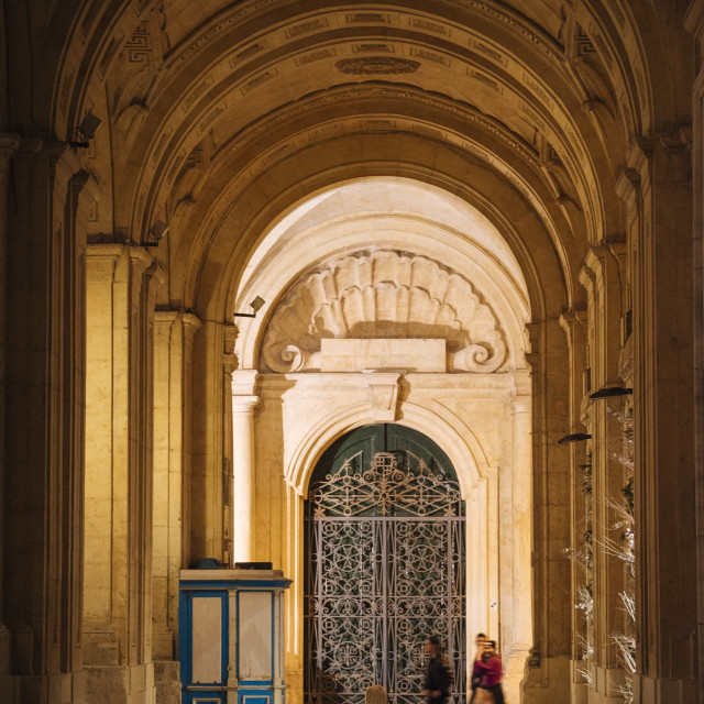 """""""National Library of Malta at twilight, Valletta, Malta"""" stock image"""